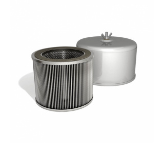 Air filters with integrated silencer