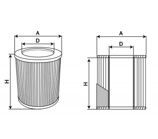 Filter's cartridge dimensions